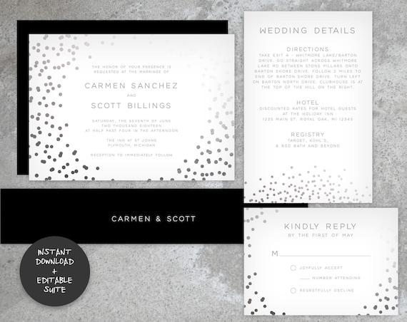 Faux Silver Foil Wedding Invitation Suite | INSTANT DOWNLOAD | Editable PDF| Do It Yourself | Printable