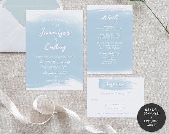 Blue Watercolor Wedding Invitation Suite | INSTANT DOWNLOAD | Editable PDF| Do It Yourself | Printable