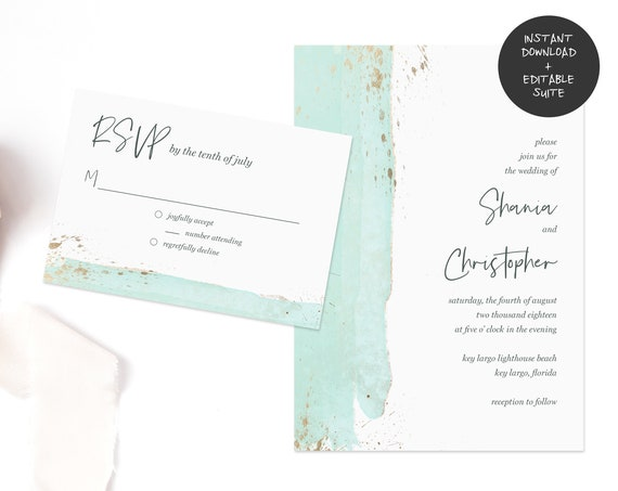 Teal and Gold Wedding Invitation Suite | INSTANT DOWNLOAD | Editable PDF| Do It Yourself | Printable