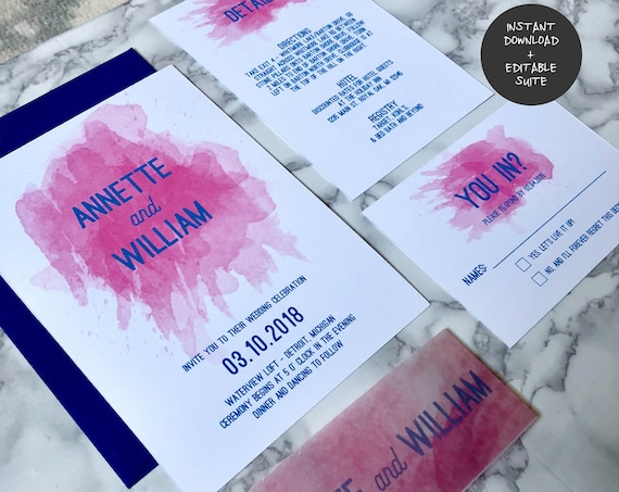 Navy and Hot Pink Watercolor Wedding Invitation Suite | INSTANT DOWNLOAD | Editable PDF| Do It Yourself | Printable