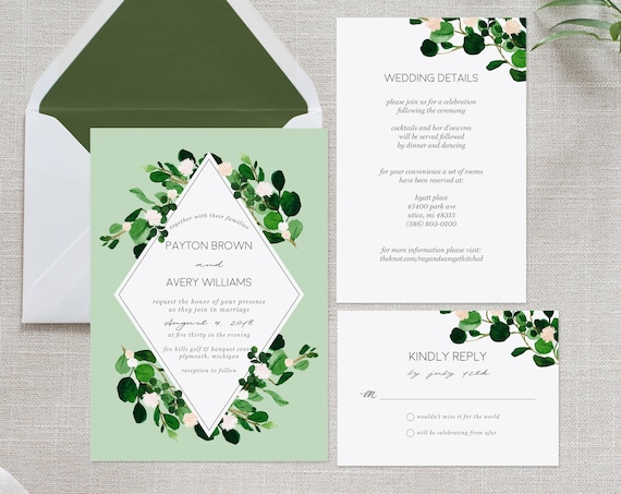 Green Wedding Invitation Suite | INSTANT DOWNLOAD | Editable PDF| Do It Yourself | Printable