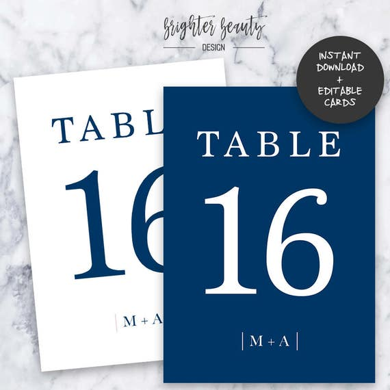 Navy Wedding Table Numbers  | INSTANT DOWNLOAD | Editable PDF| Do It Yourself | Printable