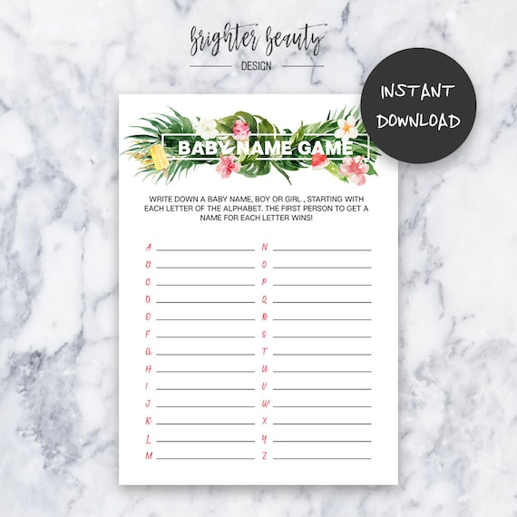 Tropical Baby Shower Baby Name Game | Instant Download | DIY | Printable