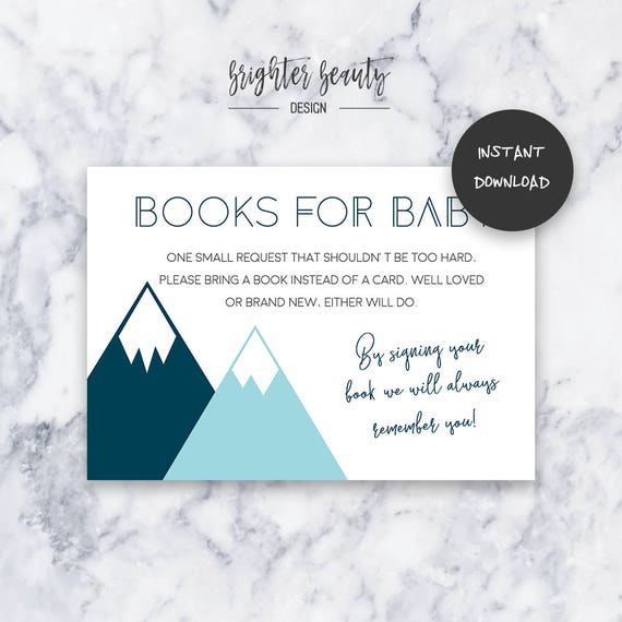 Teal Adventure Books for Baby | Baby Shower Insert | INSTANT DOWNLOAD | Do It Yourself | Printable