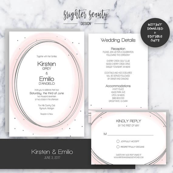 Blush Wedding Invitation Suite | INSTANT DOWNLOAD | Editable PDF| Do It Yourself | Printable