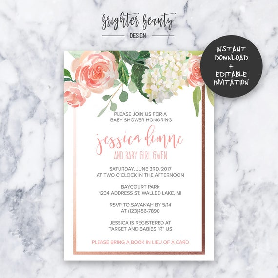 Pink Floral Baby Shower Invitation | INSTANT DOWNLOAD | Editable PDF| Do It Yourself | Printable