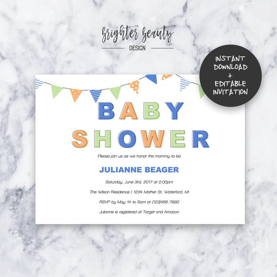 Blue Baby Shower Invitation | INSTANT DOWNLOAD | Editable PDF| Do It Yourself | Printable