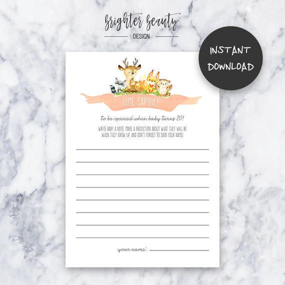 Time Capsule Baby Note | Woodland Animal Baby Shower | Instant Download | DIY | Printable