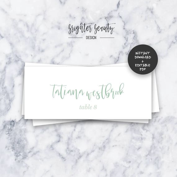 Sage Watercolor Wedding Table Place Cards  | INSTANT DOWNLOAD | Editable PDF| Do It Yourself | Printable