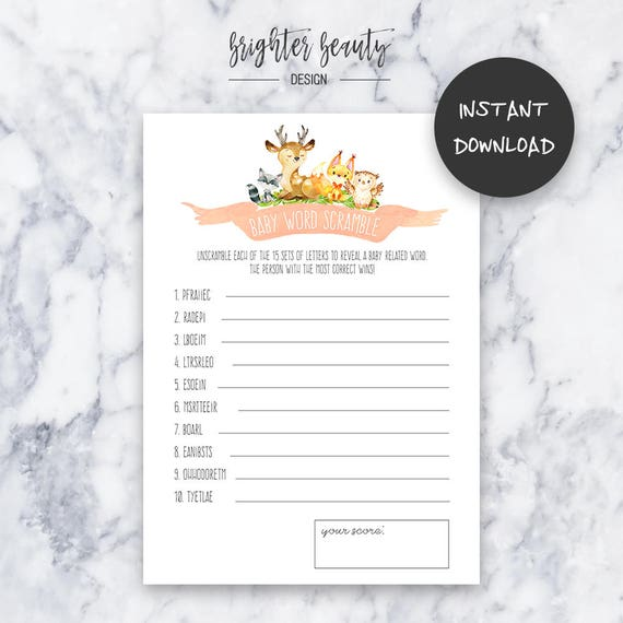 Baby Word Scramble Game   Woodland Animal Baby Shower   Instant Download   DIY   Printable