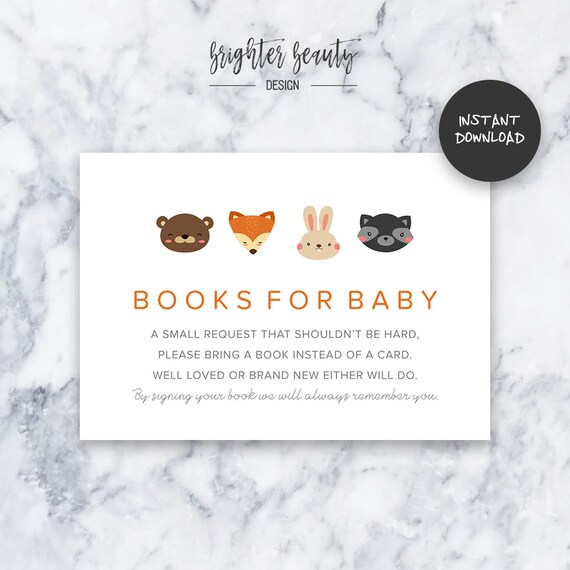 Orange Woodland Animal Books for Baby | Baby Shower Insert | INSTANT DOWNLOAD | Do It Yourself | Printable