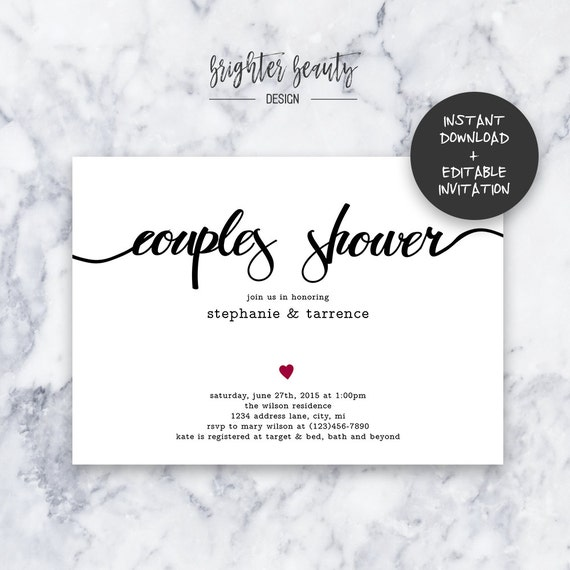 Simple Couples Shower Invitation | INSTANT DOWNLOAD | Editable PDF| Do It Yourself | Printable