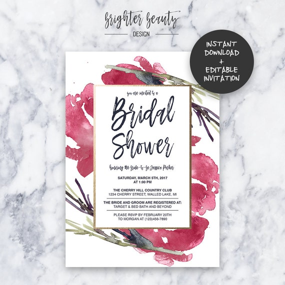 Red Bridal Shower Invitation | INSTANT DOWNLOAD | Editable PDF| Do It Yourself | Printable