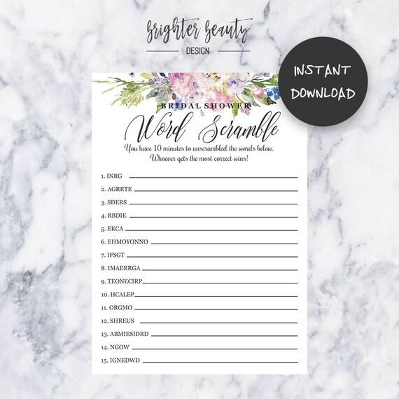 Bridal Shower Word Scramble Game | Bridal Shower Game | Instant Download | DIY | Printable