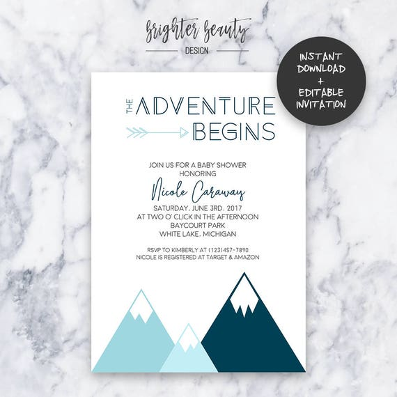 Teal Adventure Baby Shower Invitation | INSTANT DOWNLOAD | Editable PDF| Do It Yourself | Printable