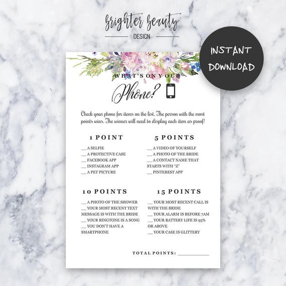 What's On Your Phone Game | Bridal Shower Game | Instant Download | DIY | Printable