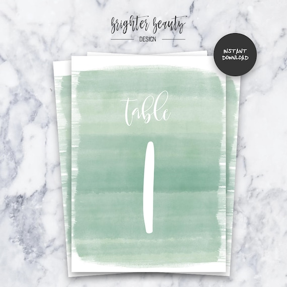 Sage Watercolor Wedding Table Numbers  | INSTANT DOWNLOAD | Editable PDF| Do It Yourself | Printable