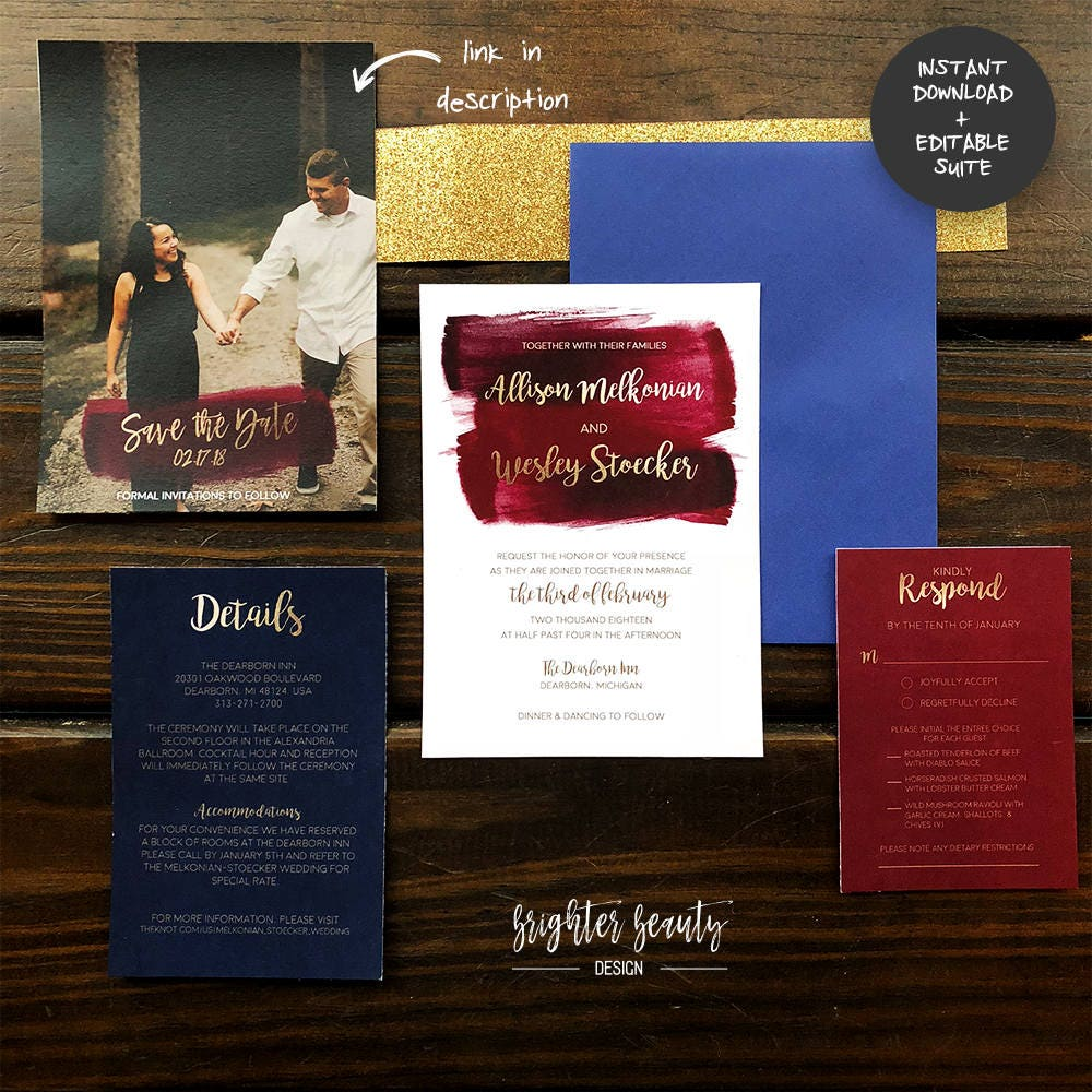 Maroon, Navy, & Gold Watercolor Wedding Invitation Suite | INSTANT ...