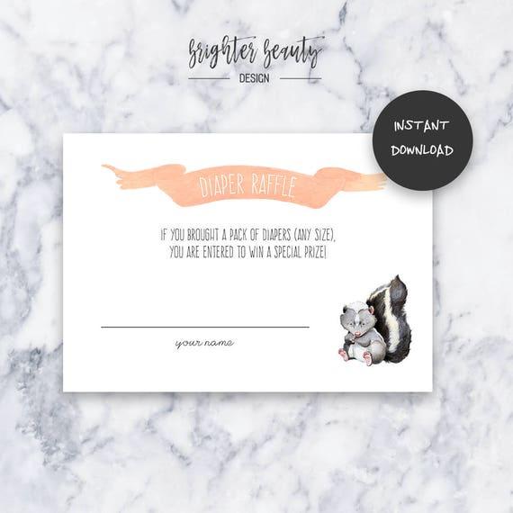 Skunk Diaper Raffle   Baby Shower Insert   INSTANT DOWNLOAD   Do It Yourself   Printable
