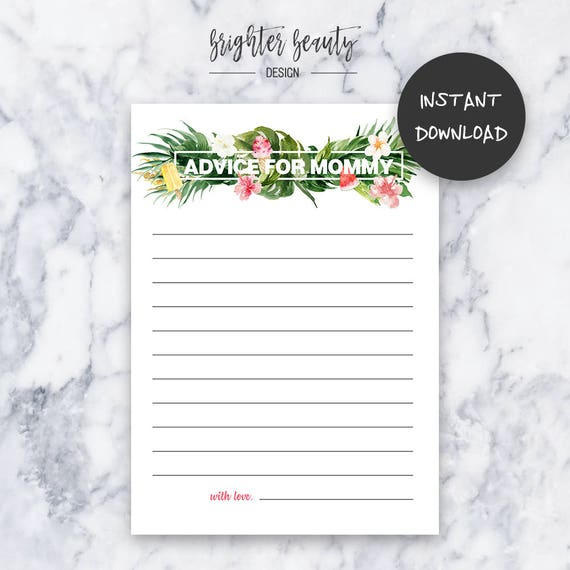 Tropical Baby Shower Advice for Mommy Game | Instant Download | DIY | Printable