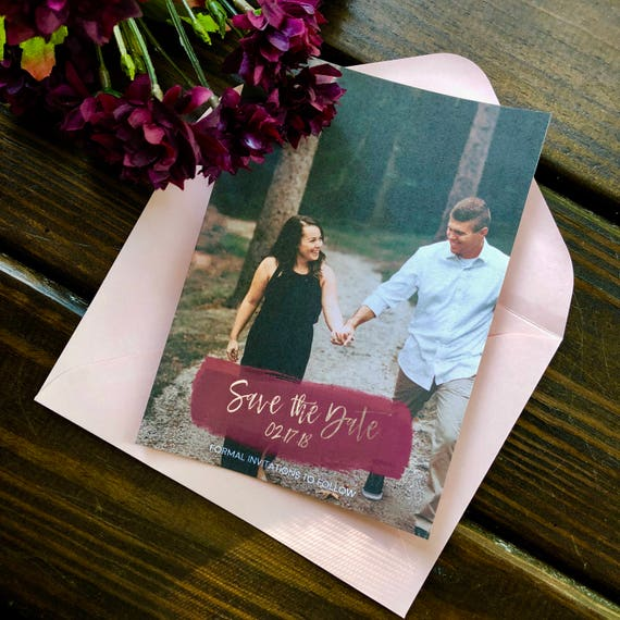 Maroon Save the Date | Photo Save the Date | Simple Photo Save the Date | Photo Wedding Save the Date | Wedding Announcement