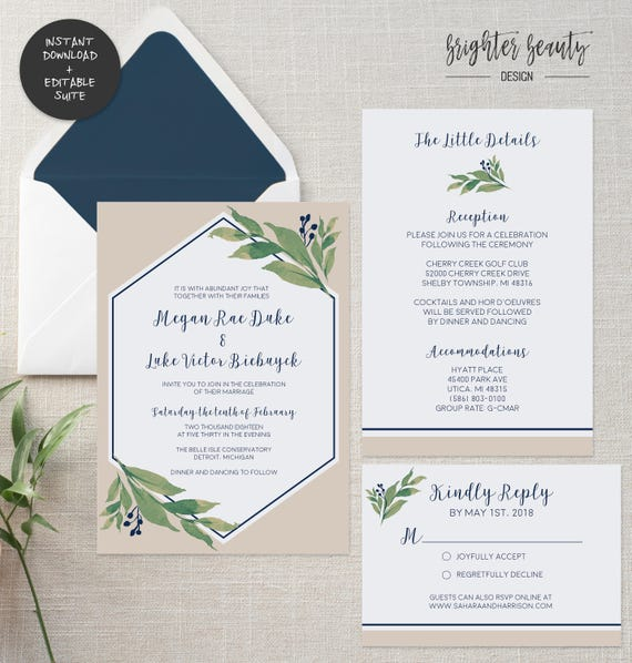 Navy Greenery Wedding Invitation Suite | INSTANT DOWNLOAD | Editable PDF| Do It Yourself | Printable