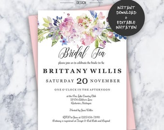 Floral Bridal Tea Invitation | INSTANT DOWNLOAD | Editable PDF| Do It Yourself | Printable