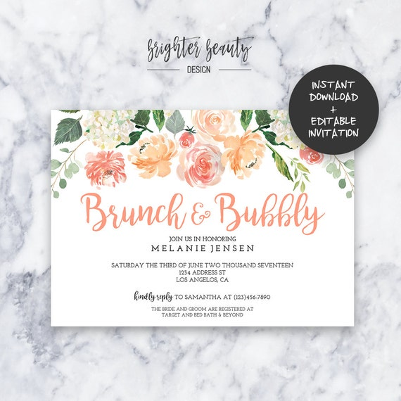Brunch & Bubbly Bridal Shower Invitation | INSTANT DOWNLOAD | Editable PDF| Do It Yourself | Printable
