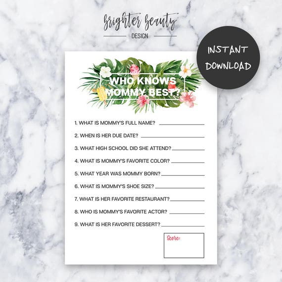 Tropical Baby Shower Who Knows Mommy Best Game | Instant Download | DIY | Printable