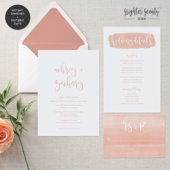 Blush Watercolor Wedding Invitation Suite | INSTANT DOWNLOAD | Editable PDF| Do It Yourself | Printable