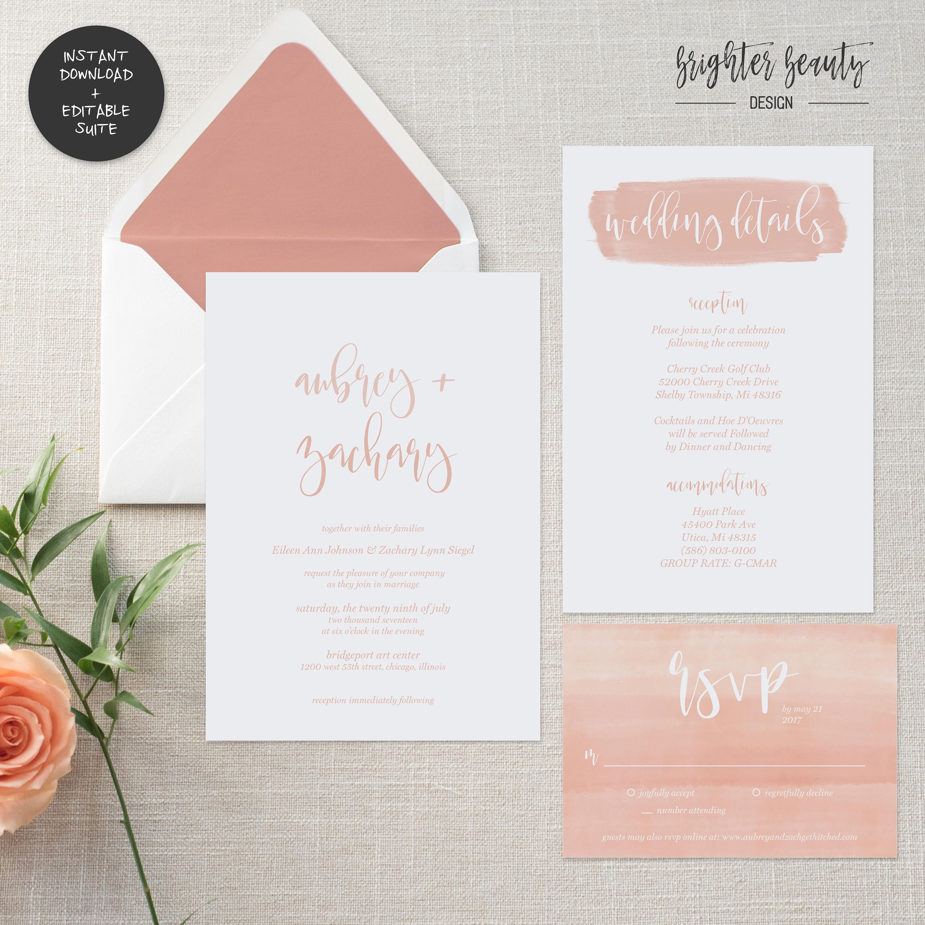 Blush Watercolor Wedding Invitation Suite | INSTANT DOWNLOAD ...