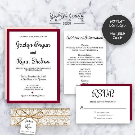 Rustic Burgundy Wedding Invitation Suite | INSTANT DOWNLOAD | Editable PDF| Do It Yourself | Printable