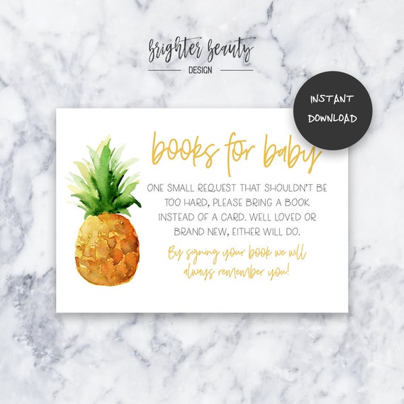 Pineapple Books for Baby | Baby Shower Insert | INSTANT DOWNLOAD | Do It Yourself | Printable