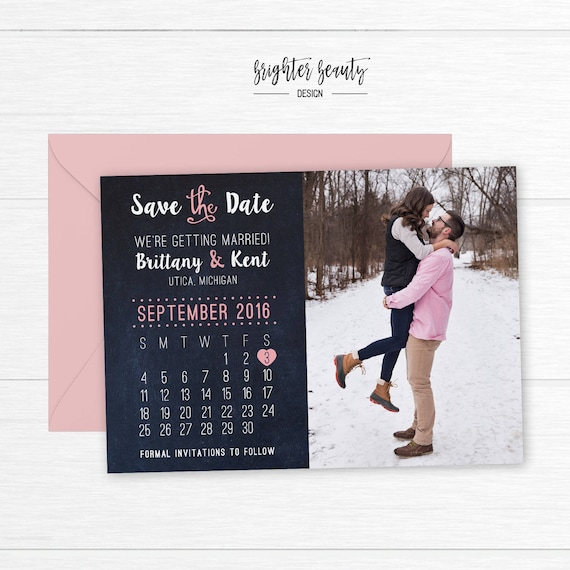 Calendar Save the Date | Photo Save the Date | Pink Photo Save the Date | Photo Wedding Save the Date | Wedding Announcement