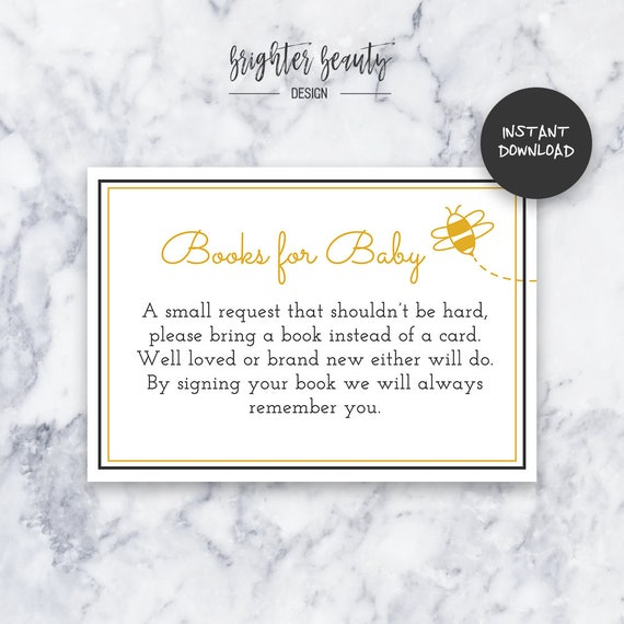 Honey Bee Books for Baby | Baby Shower Insert | INSTANT DOWNLOAD | Do It Yourself | Printable