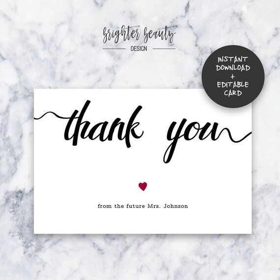 Bridal Shower Thank You Card | Wedding Thank You Card | INSTANT DOWNLOAD | Do It Yourself | Printable