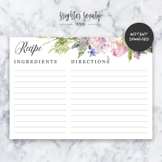 Recipe Card | INSTANT DOWNLOAD | Do It Yourself | DIY | Printable
