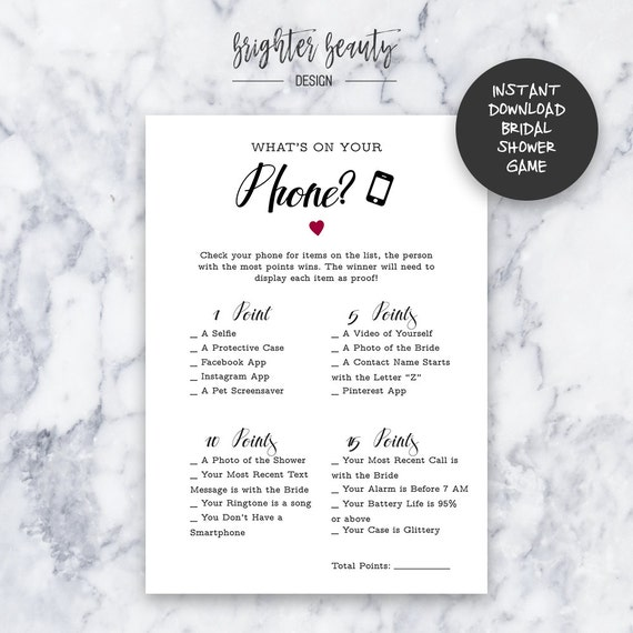 Bridal Shower What's On Your Phone Game | Instant Download | DIY | Printable