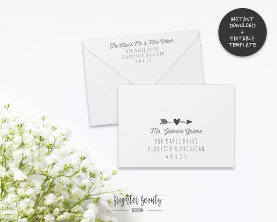 photograph about Printable Envelope Template Pdf named Printable Envelope Template Editable Envelope Template A7 A1  Wedding ceremony Envelope Addressing Template RSVP Envelope Addressing PDF
