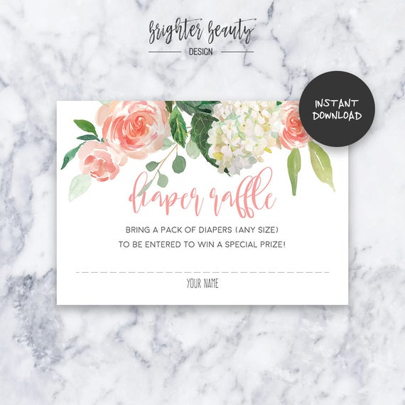 Pink Floral Diaper Raffle | Baby Shower Insert | INSTANT DOWNLOAD | Do It Yourself | Printable