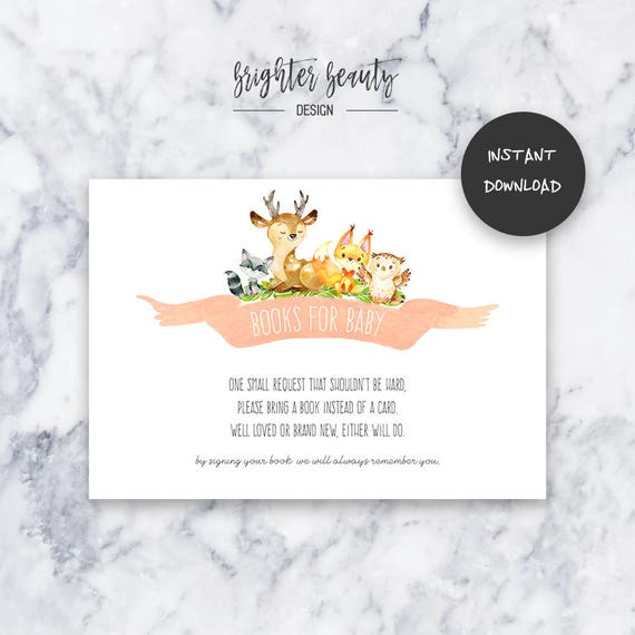 Woodland Animal Books for Baby   Baby Shower Insert   INSTANT DOWNLOAD   Do It Yourself   Printable