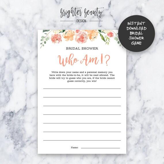Bridal Shower Who Am I Game | Bridal Shower Game | Instant Download | DIY | Printable