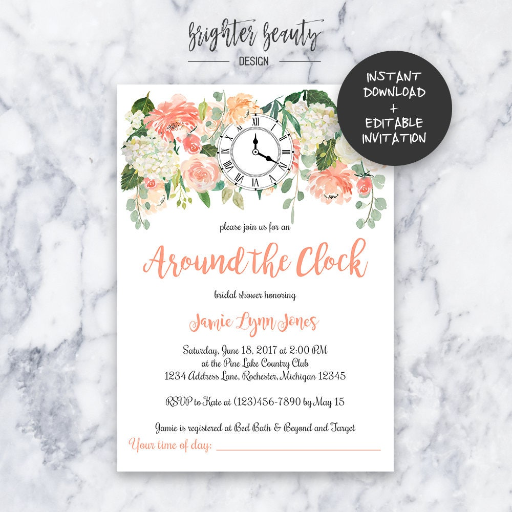 Around The Clock Bridal Shower Invitation Instant Download Etsy