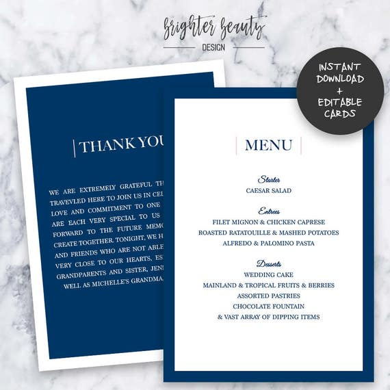 Navy Wedding Menu & Thank You Cards  | INSTANT DOWNLOAD | Editable PDF| Do It Yourself | Printable