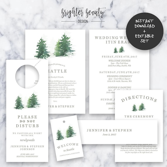 Outdoor Wedding Welcome Bag Package | Editable PDF  | Instant Download | DIY | Printable
