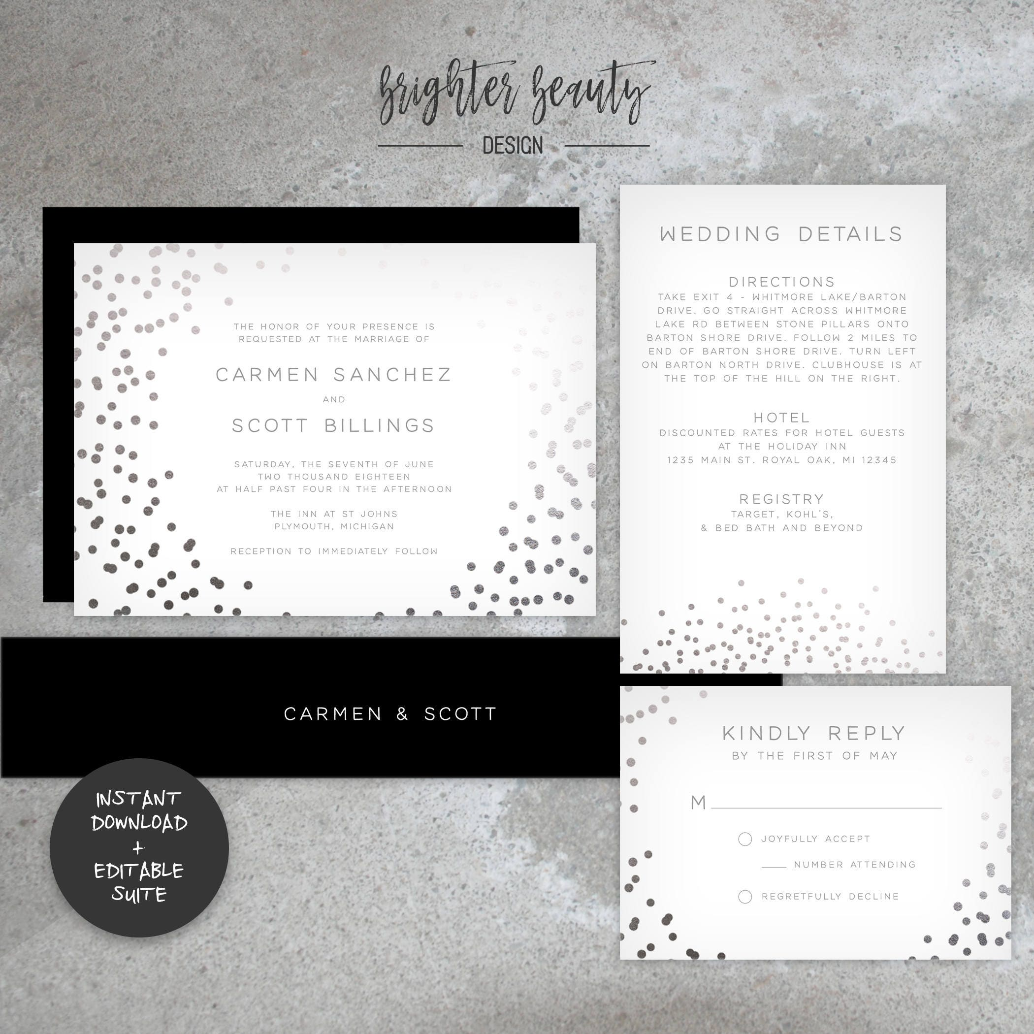 Faux Silver Foil Wedding Invitation Suite | INSTANT DOWNLOAD ...