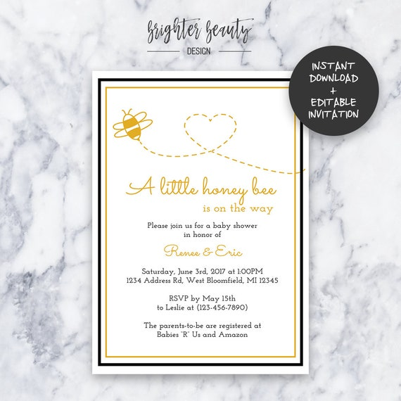Honey Bee Baby Shower Invitation | INSTANT DOWNLOAD | Editable PDF| Do It Yourself | Printable