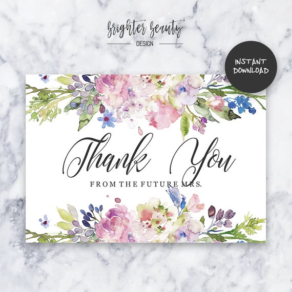Floral Pastel Bridal Shower Thank You Card | INSTANT DOWNLOAD | Do It Yourself | Printable