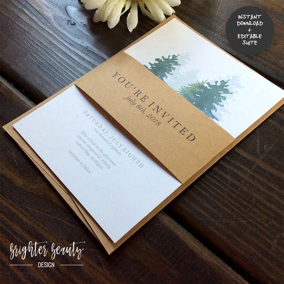 Outdoor Pine Wedding Invitation Suite | INSTANT DOWNLOAD | Editable PDF| Do It Yourself | Printable