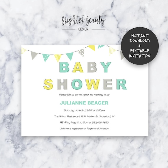 Teal/Yellow Gender Neutral Baby Shower Invitation | INSTANT DOWNLOAD | Editable PDF| Do It Yourself | Printable
